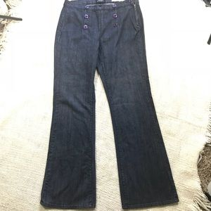 NYDJ Sailor Dark Wash Button Front Wide Leg Sz 10